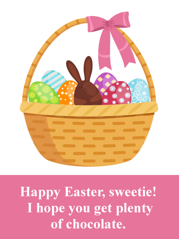 Basket of Chocolate- Happy Easter Card for Girls
