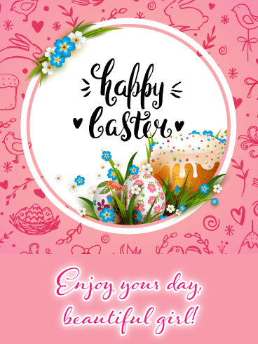 Doodles- Happy Easter Card for Girls