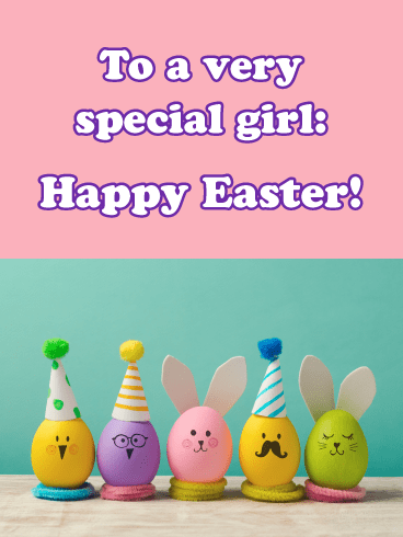 Cute Egg Animals- Happy Easter Card for Girls