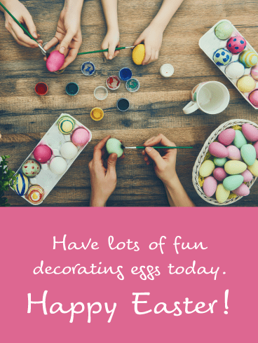 Egg Dyeing- Happy Easter Card for Girls