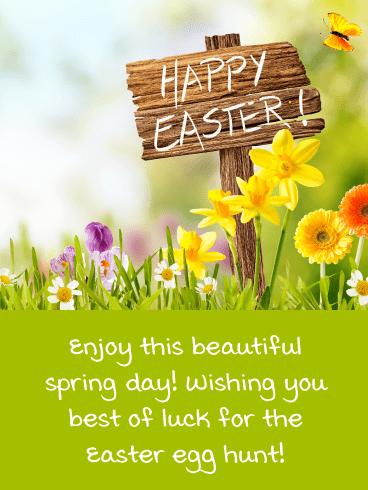 Beautiful Spring Day- Happy Easter Card for Girls