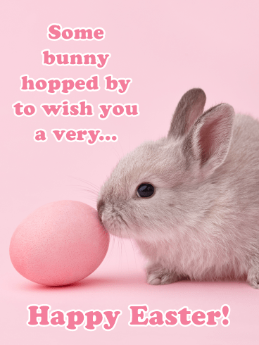 Bunny with Pink Egg- Happy Easter Card for Girls