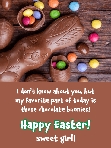 Chocolate Bunny- Happy Easter Card for Girls
