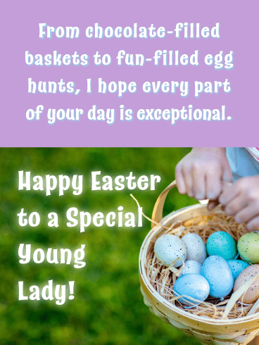Brightly Colored Eggs-Happy Easter Card For Girls