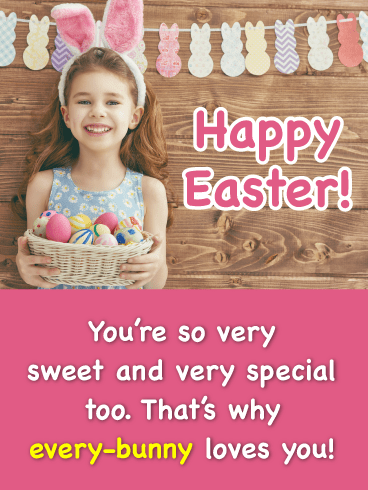 Little Girl With Bunny Ears-Happy Easter Card For Girls