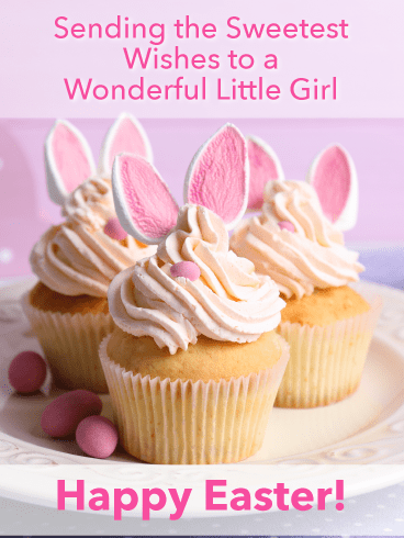 Deliciously decorated Bunny Cupcakes-Happy Easter Card For Girls