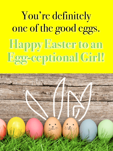Cute Colored Eggs-Happy Easter Card For Girls