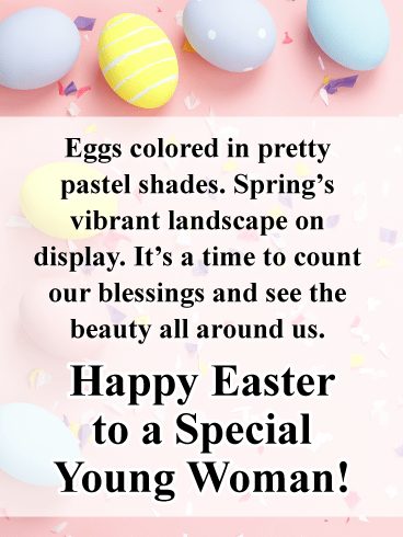Pretty Pink and Colored Eggs-Happy Easter Card For Girls