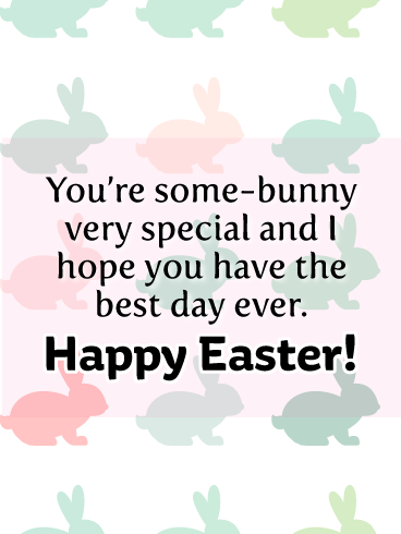 Adorable Background of Colorful Bunnies-Happy Easter Card For Girls