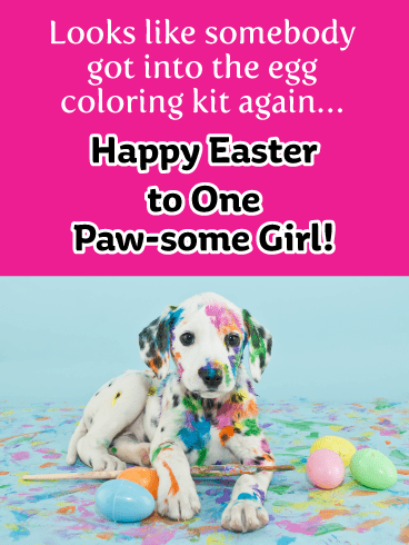 Colorful Doggie-Happy Easter Card For Girls