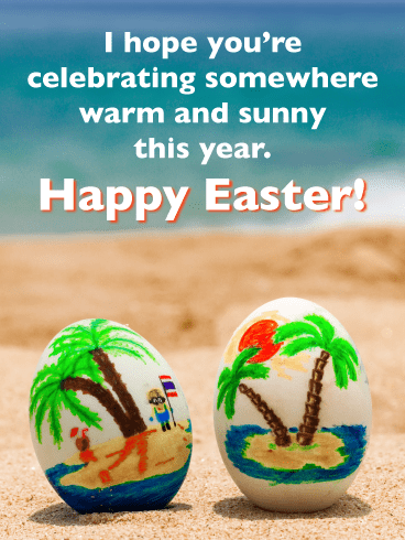 Tropical Painted Eggs-Happy Easter Card For Him