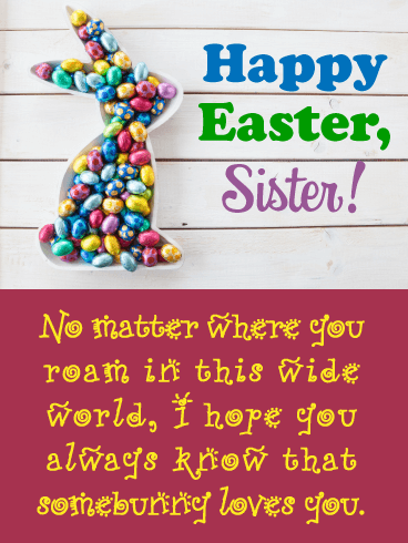 Sweet Somebunny - Happy Easter Card for Sister