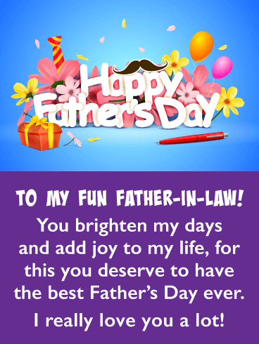 Brighten My Days - Happy Father's Day Card for Father-in-Law