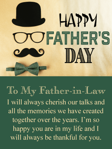 Cherish Our Talks - Happy Father's Day Card for Father-in-Law