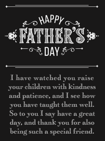 Kindness & Patience - Happy Father's Day Card for Friends