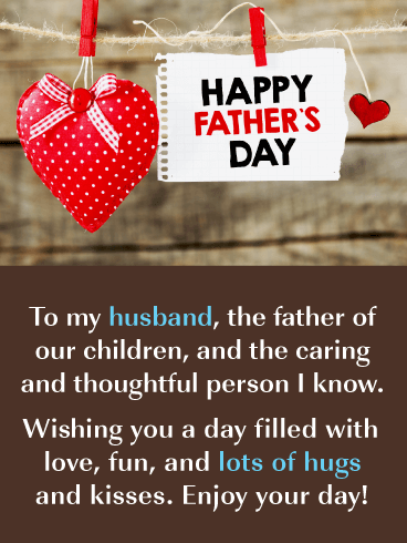 Lots of Hugs - Happy Father's Day Card for Husband