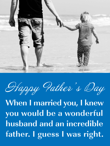 A Stroll on the Beach - Happy Father's Day Card for Husband