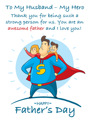 My Hero - Happy Father's Day Card for Husband