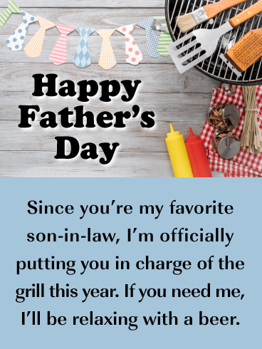 In Charge of BBQ - Happy Father's Day Card for Son-in-Law