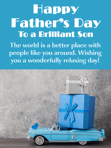 Blue Toy Car - Happy Father's Day Card for Son