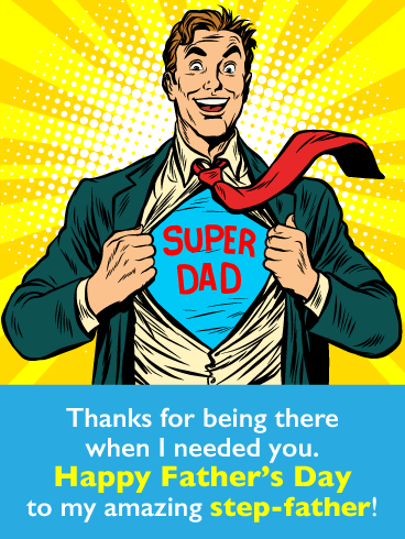 Super Dad - Happy Father's Day Card for Step-Father
