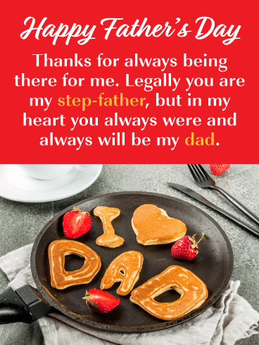 Pancake Breakfast - Happy Father's Day Card for Step-Father