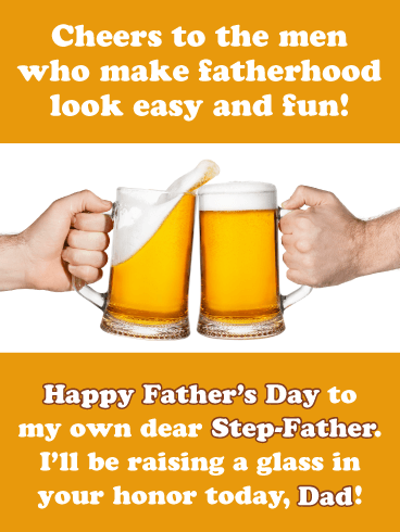 Cheers to Fatherhood - Happy Father's Day Card for Step-Father