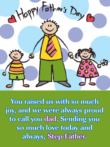 Raised with Joy - Happy Father's Day Card for Step-Father