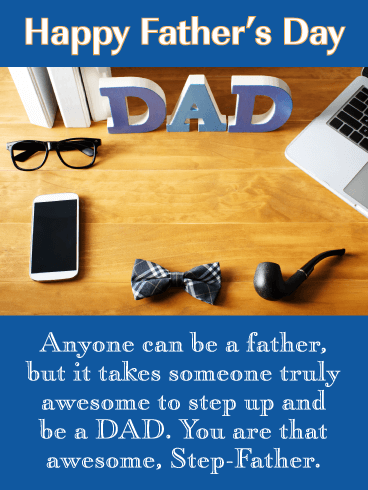 Step Up to Awesome - Happy Father's Day Card for Step-Father