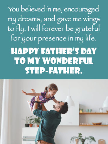 Gave Me Wings To Fly - Happy Father's Day Card for Step-Father