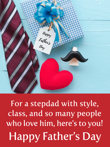 Festive and Thoughtful Father's Day Card for Step-Father