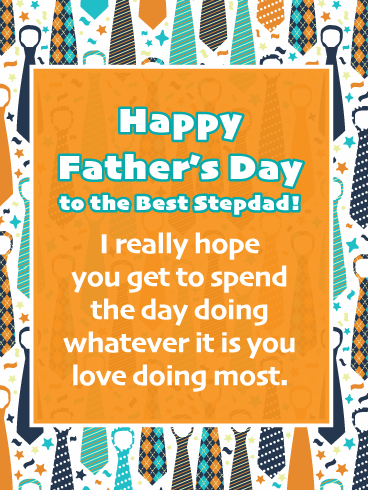 Coloful Necktie- Happy Father's Day Card for Step-Father
