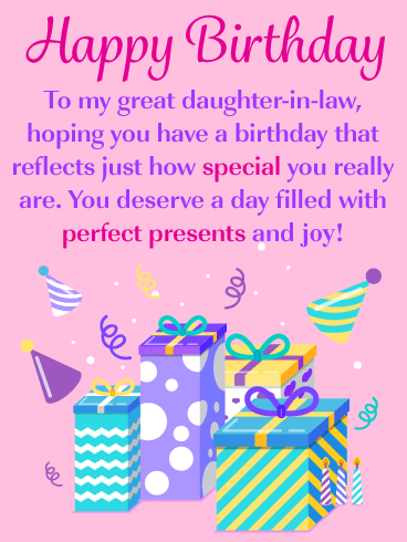 Birthday Gift Box Cards For Daughter In Law