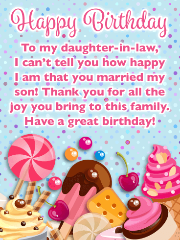 Sweet Treats - Happy Birthday Card for Daughter-in-Law