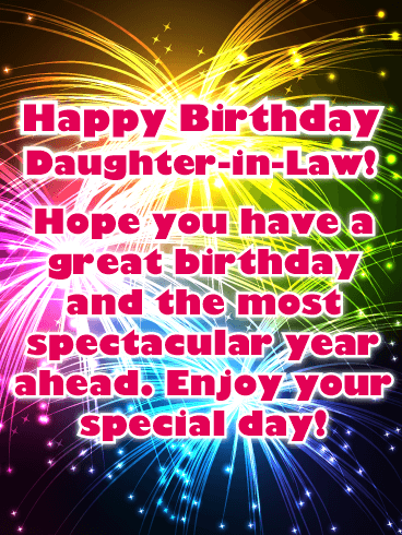 Spectacular Fireworks - Happy Birthday Card for Daughter-in-Law