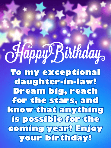 Dream Big! Happy Birthday Card for Daughter-in-Law