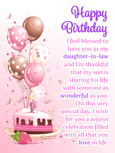 Happy Birthday I Feel Blessed To Have You As My Daughter In Law