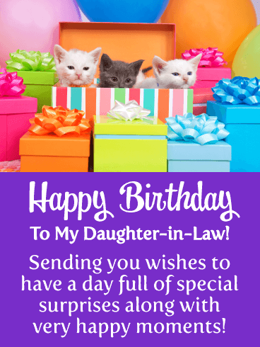 Kittens & Presents - Happy Birthday Card for Daughter-in-Law