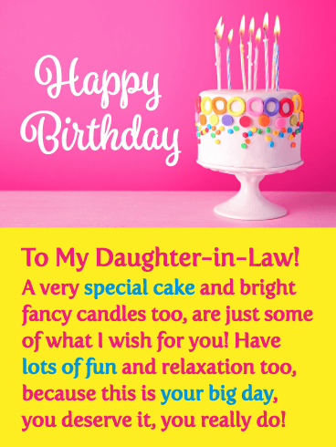 A Special Cake - Happy Birthday Card for Daughter-in-Law