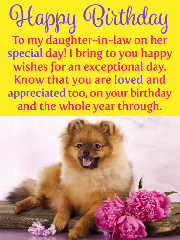Puppy & Flowers - Happy Birthday Card for Daughter-in-Law