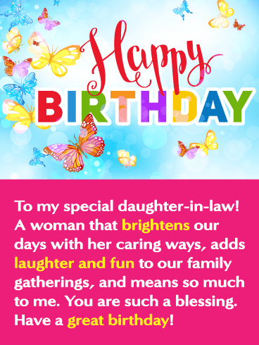 Happy Birthday To My Special Daughter In Law A Woman That Brightens