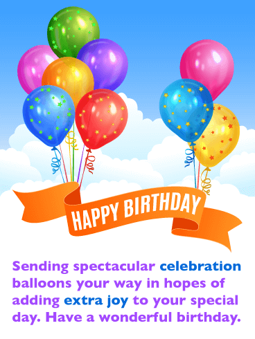 Celebration Balloons - Happy Birthday Card