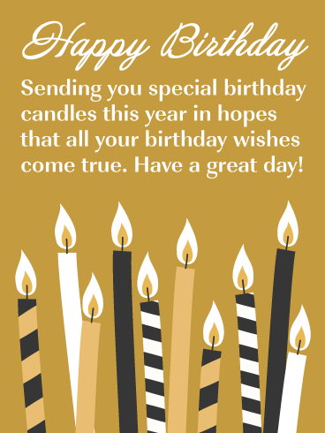Special Candles Happy Birthday Card Birthday Greeting Cards By