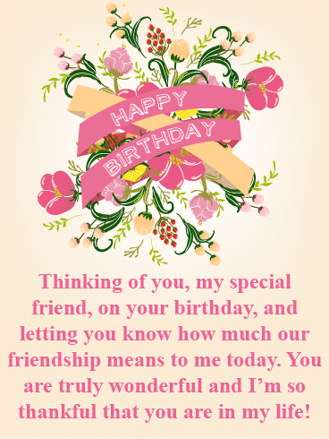 Thankful for You - Happy Birthday Card for Friends