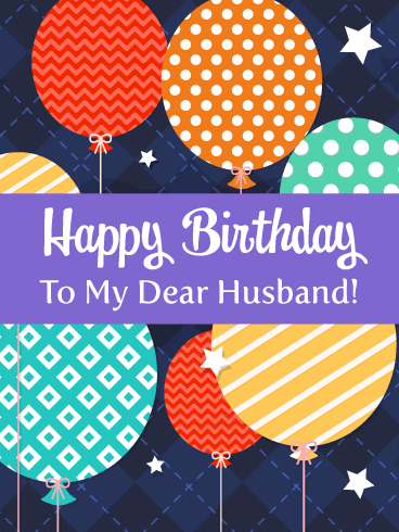 Celebration Balloons - Happy Birthday Card for Husband