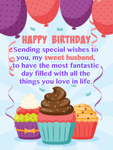 Cupcakes & Balloons - Happy Birthday Card for Husband