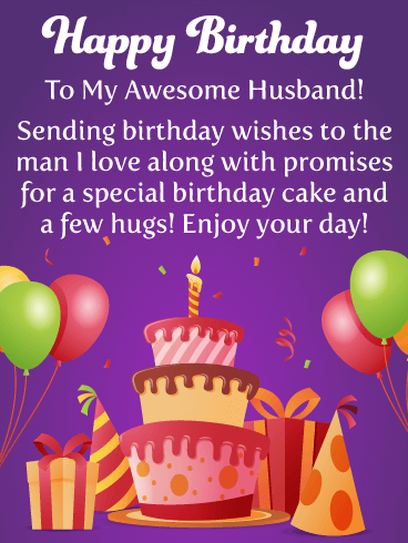 Cake and Presents - Happy Birthday Card for Husband