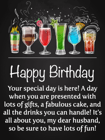 Celebration Drinks Happy Birthday Card For Husband Birthday Greeting Cards By Davia