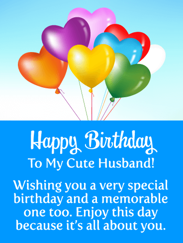 Colorful Heart Balloons - Happy Birthday Card for Husband