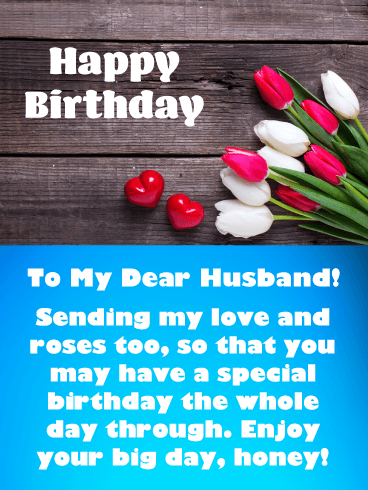 Love & Roses - Happy Birthday Card for Husband